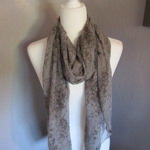 Gray marbled silk wrap / scarf